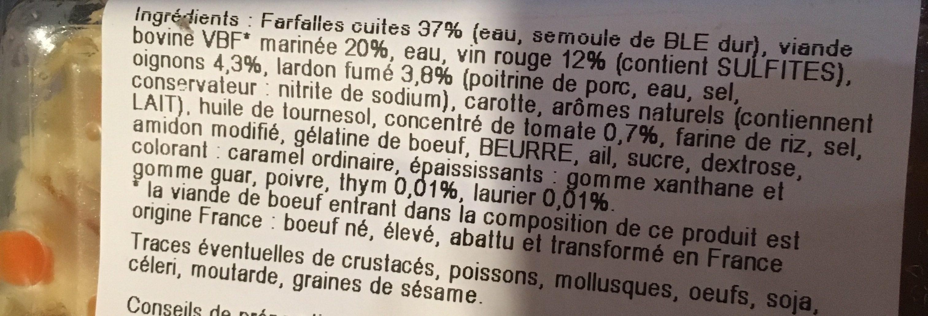 Bœuf bourguignon et farfalles - Ingrédients - fr