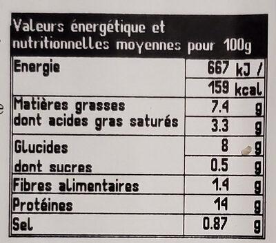 Poulet & Rostis sauce emmental & parmesan - Valori nutrizionali - fr