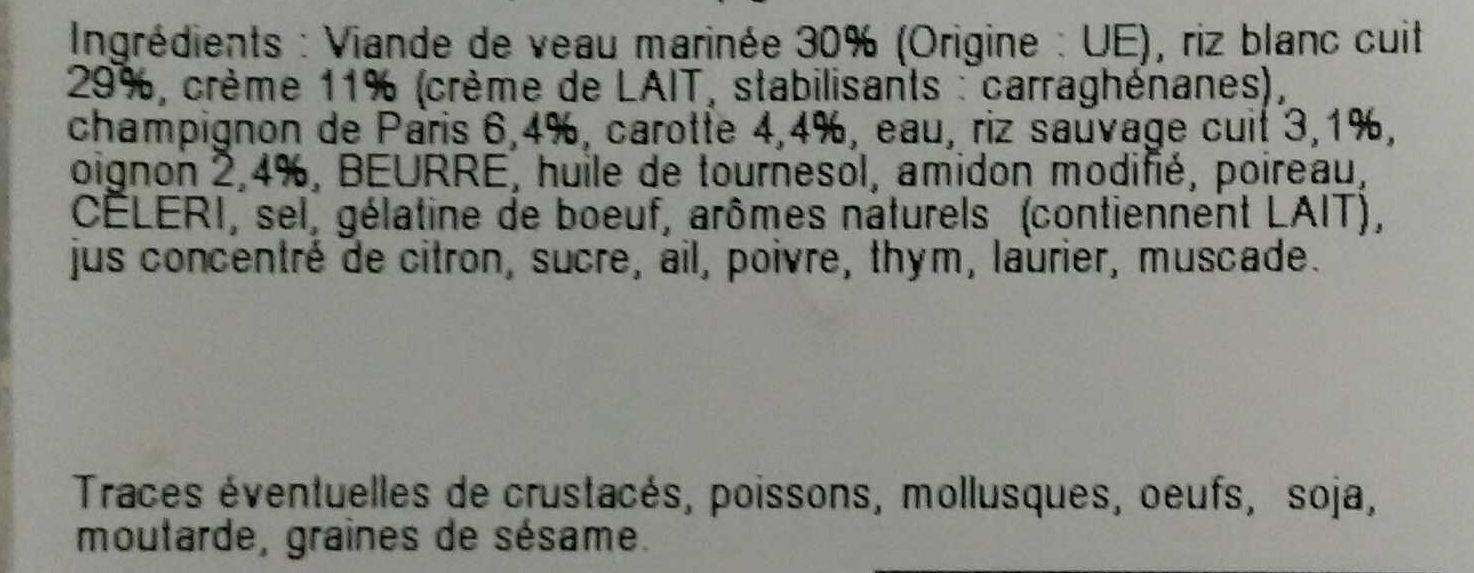 Blanquette de Veau & Duo de Riz Cuisiné - Ingrediënten - fr
