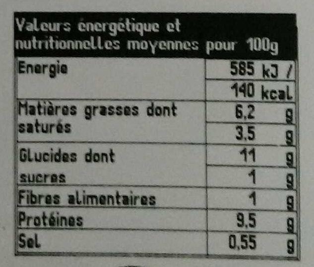 Blanquette de Veau & Duo de Riz Cuisiné - Voedingswaarden - fr