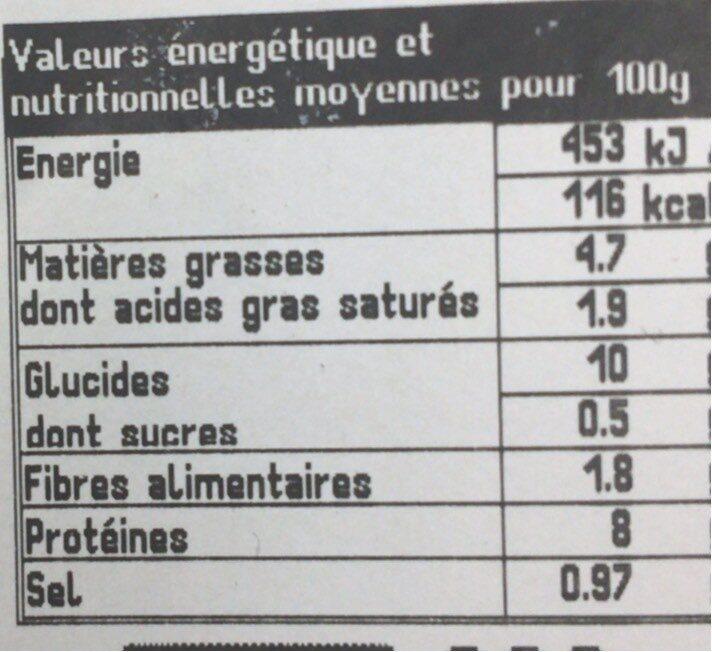 Coucous poulet et merguez - Voedingswaarden - fr