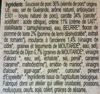 Saucisses grillées sauce moutarde à l'ancienne & purée de carotte - Ingrediënten - fr