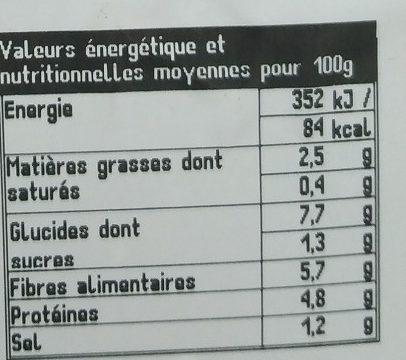 Lentilles du Puy aux Petits Légumes - Voedingswaarden - fr