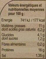 Saumon sauce beurre blanc chablis - Informations nutritionnelles - fr