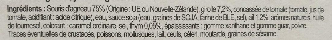 Souris d'agneau jus aux girolles - Ingrediënten - fr