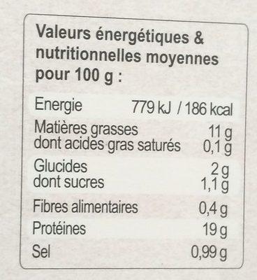 Souris d'agneau jus aux girolles - Voedingswaarden - fr