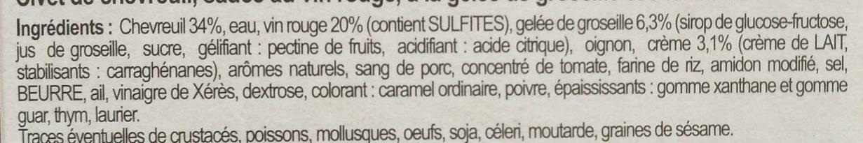 Chevreuil Sauce Grand Veneur - Ingrediënten - fr