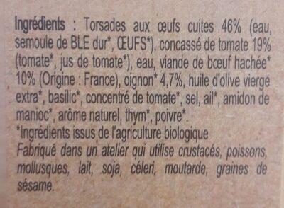 pâtes torsades à la bolognaise - Ingrédients - fr