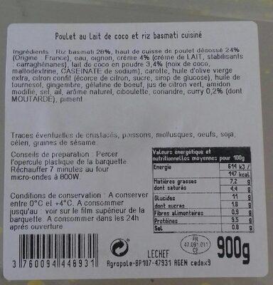 Poulet au lait de coco et riz basmati - Product - fr