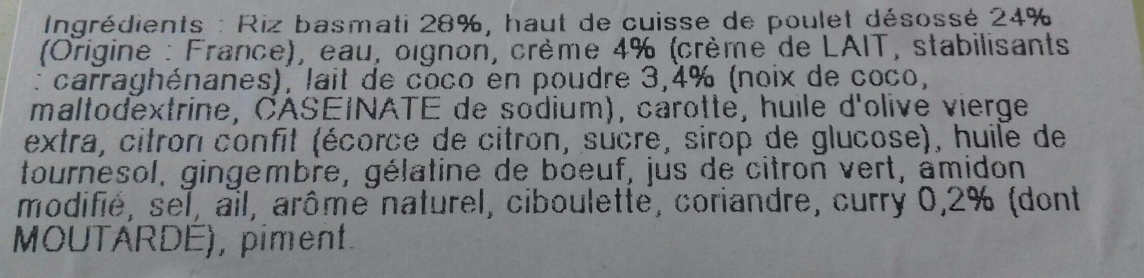 Poulet au lait de coco et riz basmati - Ingrediënten - fr