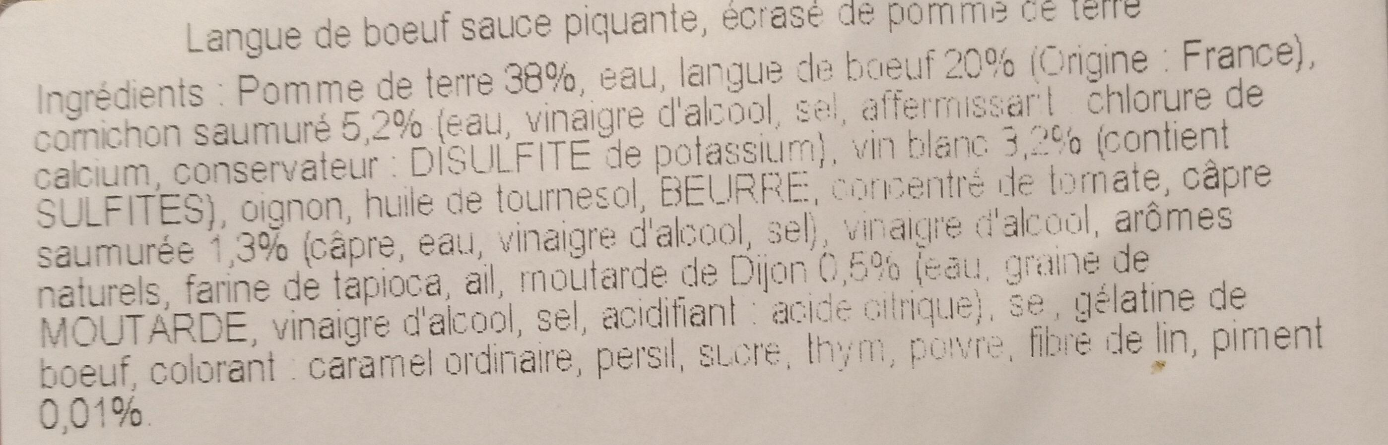 Langue de boeuf sauce piquante - Ingrédients - fr