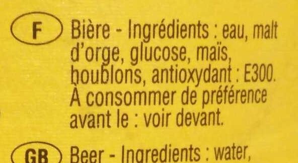 Bière blonde - Ingredients