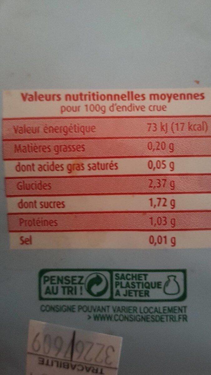 4 endives spéciales salade - Informations nutritionnelles - fr