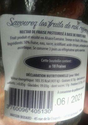 Nectar de fraise - Ingredients