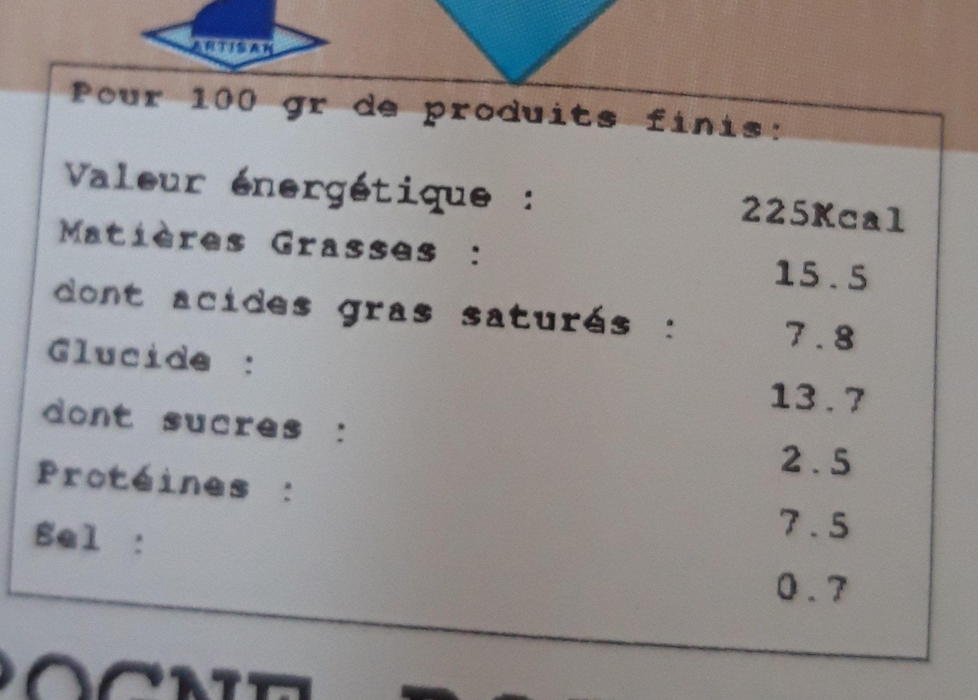 en ligne poireaux Bleu du Vercors Sassenage - Nutrition facts - fr