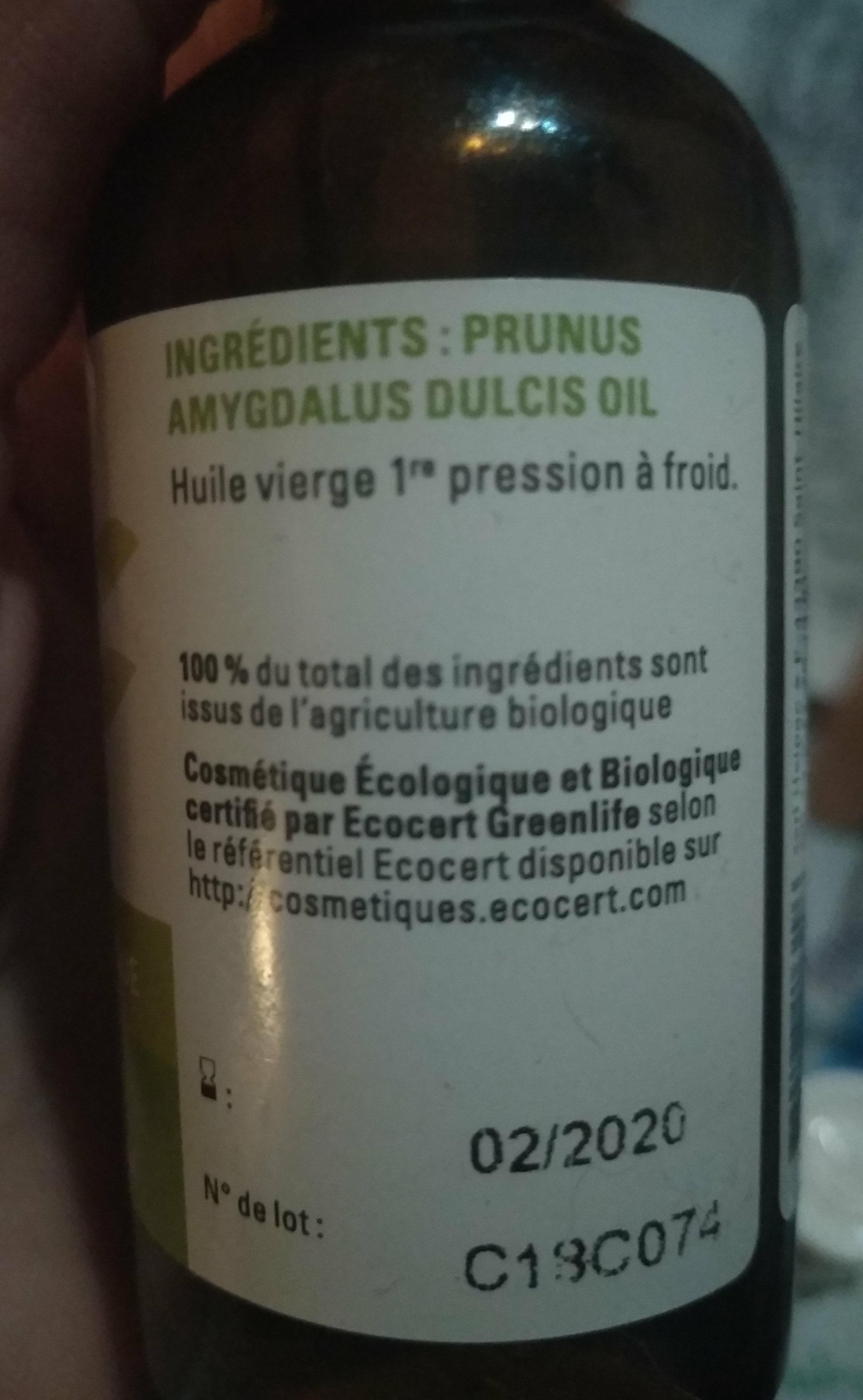 huile végétale biologique Amande douce - Ingredients