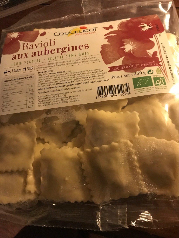 250G Ravioli Frais Sans Oeufs Aux Aubergines - Produit