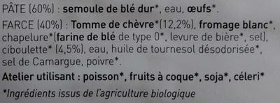 Ravioli chèvre et ciboulette - Ingrédients - fr