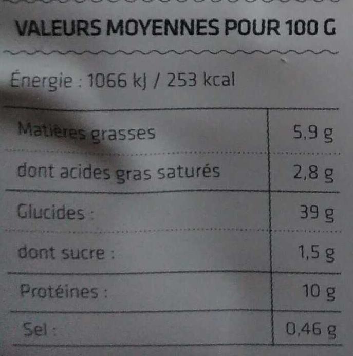 Ravioli chèvre et ciboulette - Informations nutritionnelles - fr