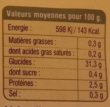 Gnocchi nature - Nutrition facts