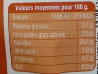Pâtes au petit épeautre - Informations nutritionnelles - fr