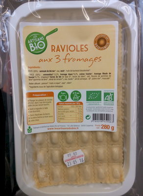 Ravioles aux 3 Fromages Bio - Produit