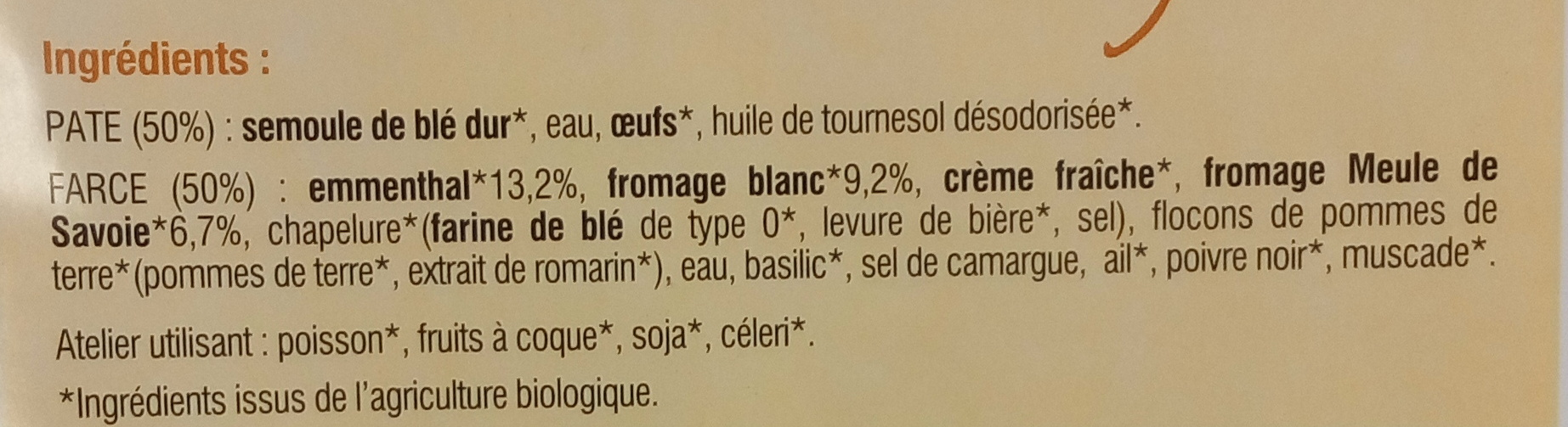Ravioles aux 3 Fromages Bio - Ingredients - fr