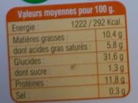 Ravioles aux 3 Fromages Bio - Nutrition facts - fr