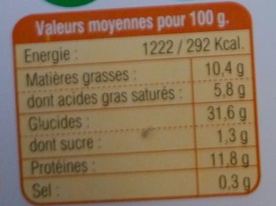 Ravioles aux 3 Fromages Bio - Informations nutritionnelles