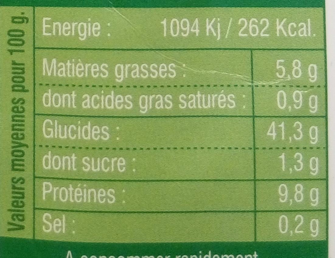Ravioli Tofu Basilic - Nährwertangaben - fr