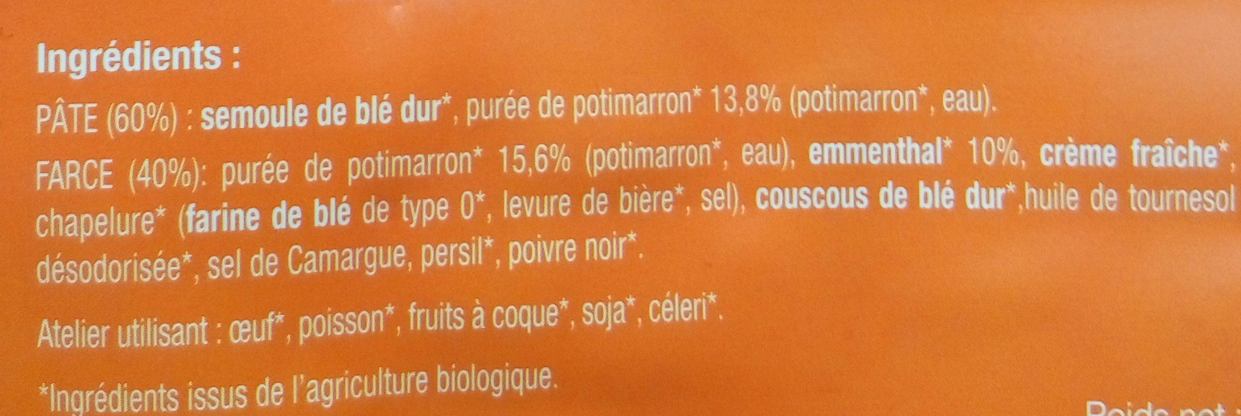 Ravioli Potimarron Emmenthal - Ingrédients - fr