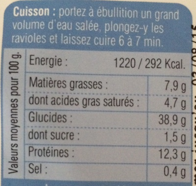 Ravioles fromages ail et fines herbes - Voedingswaarden - fr