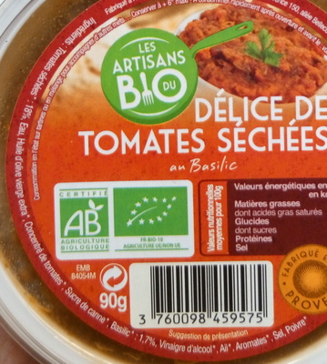 Délice de Tomates Séchées au Basilic - Inhaltsstoffe - fr
