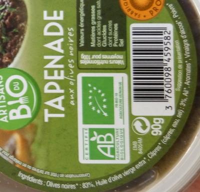 Tapenade aux olives noires - Inhaltsstoffe - fr