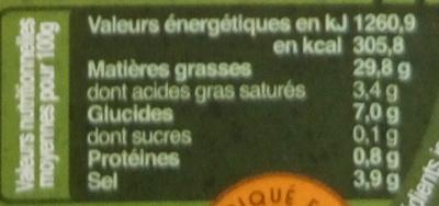 Tapenade aux olives noires - Nährwertangaben - fr