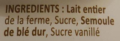Semoule au lait - Ingredients