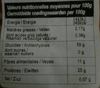 Les Pâtes Celtes Lentilles Corail Bio - Informations nutritionnelles