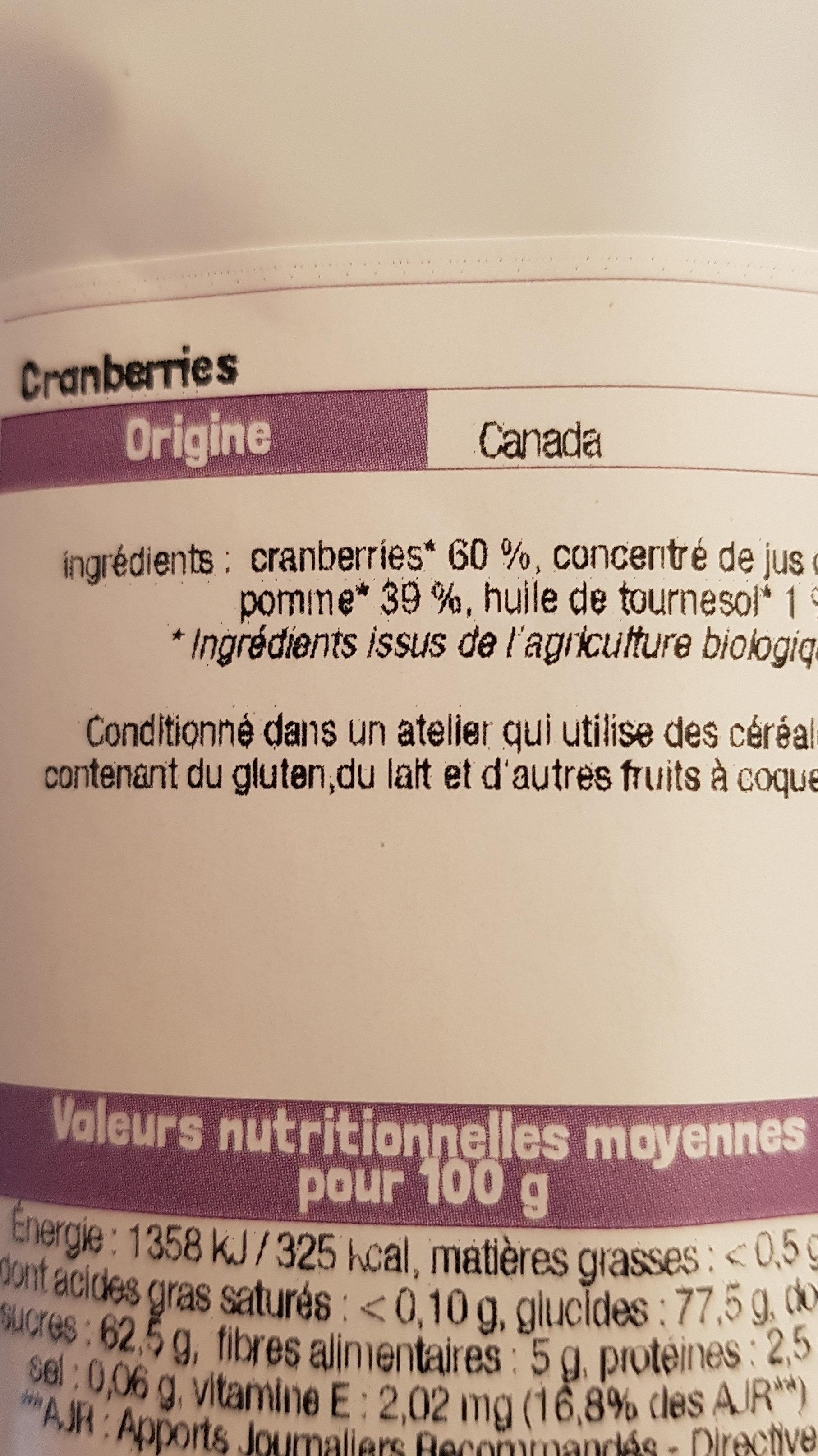 Fruits Séchés Bio - Ingrédients
