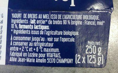 Yaourt Au Lait Entier Brebis Au Miel - Ingrediënten
