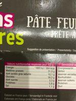 Pâte feuilletée bio - Informations nutritionnelles