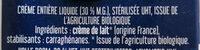 Crème liquide bio - Ingrédients - fr