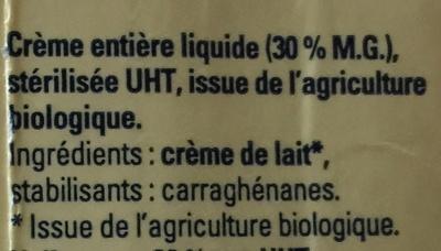 Crème liquide bio, Stérilisé UHT, Entière (30 % MG) - Ingredients