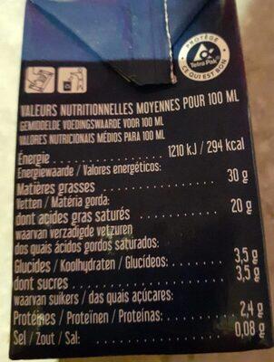 Crème liquide bio - Informations nutritionnelles - fr