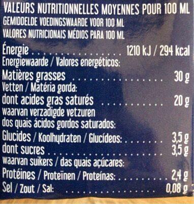 Crème liquide bio Entière - Valori nutrizionali - fr