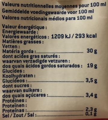 Crème liquide bio, Stérilisé UHT, Entière (30 % MG) - Nutrition facts