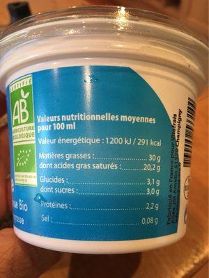 Frais & Primeur / Crèmerie / Crèmes Fraiches Bio - Informations nutritionnelles - fr