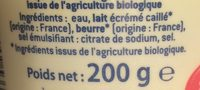 Cancoillotte Nature bio - Ingredients