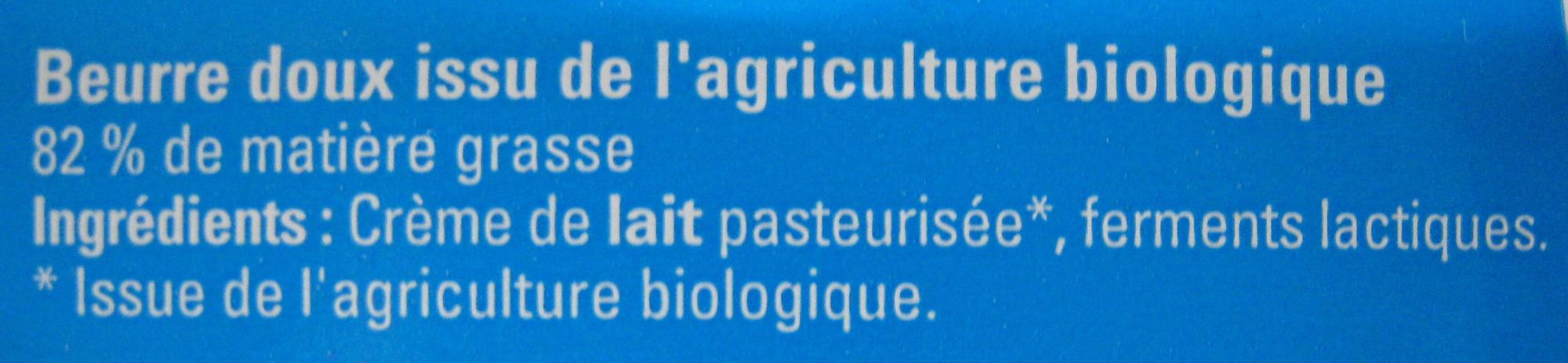Beurre Doux Bio - Ingrédients - fr
