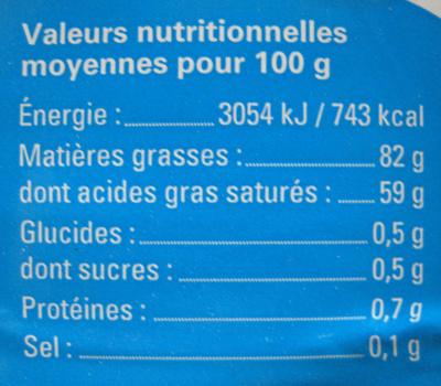 Beurre Doux Bio - Informations nutritionnelles - fr