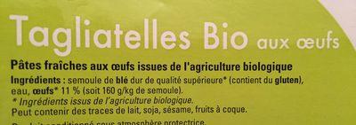 Tagliatelles Bio aux oeufs - Ingredients